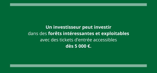 Un investisseur peut investir dans des forêts intéressantes et exploitables avec des tickets d'entrée accessibles dès 5000 €.